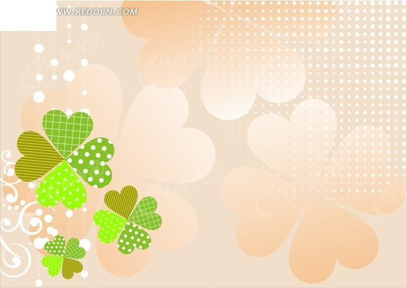 上的粉色和绿色四叶草矢量图矢量图图片