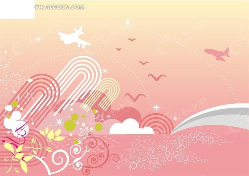 粉色系 花朵 海鸟 飞机 背景素材 ai素材 花纹 花纹素材 花边 花边
