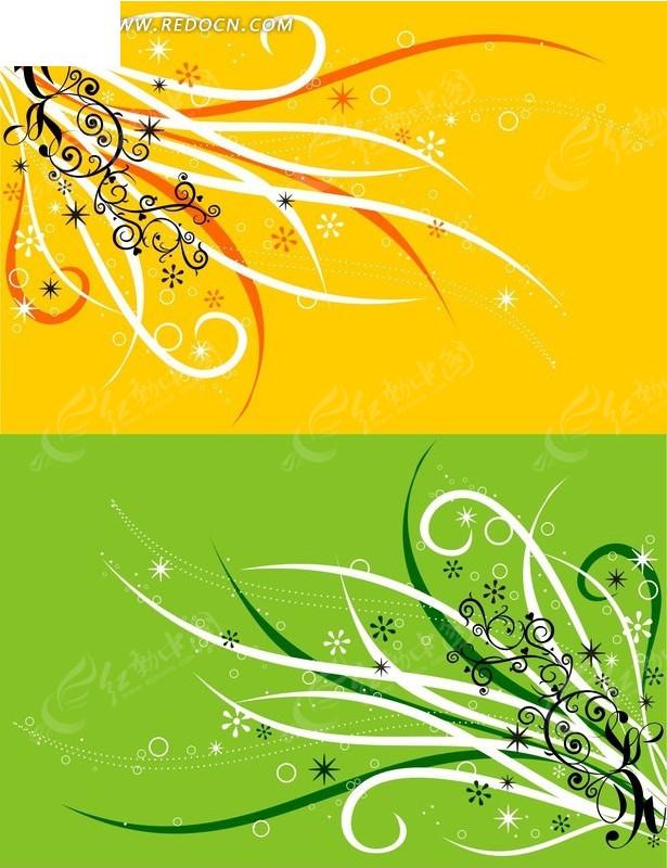 绿色背景 对称花纹 藤蔓花纹 星形 圆圈 矢量图 花纹 花纹素材 花边