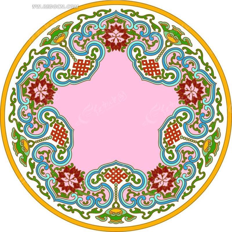 圆形金边粉底传统花朵图案分层素材psd免费下载_印花