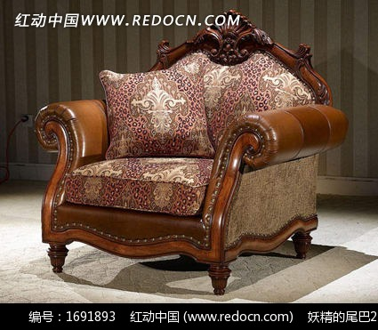 古典欧式雕花木边框印花布艺饰面单人沙发3dmax模型免费下载 家具模