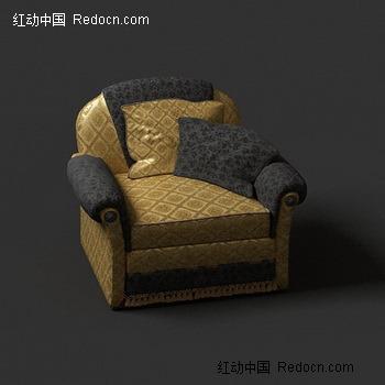 欧式双扶手软包单人位沙发
