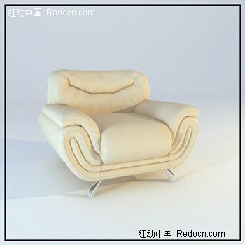 现代欧式单人不锈钢脚皮沙发3dmax模型