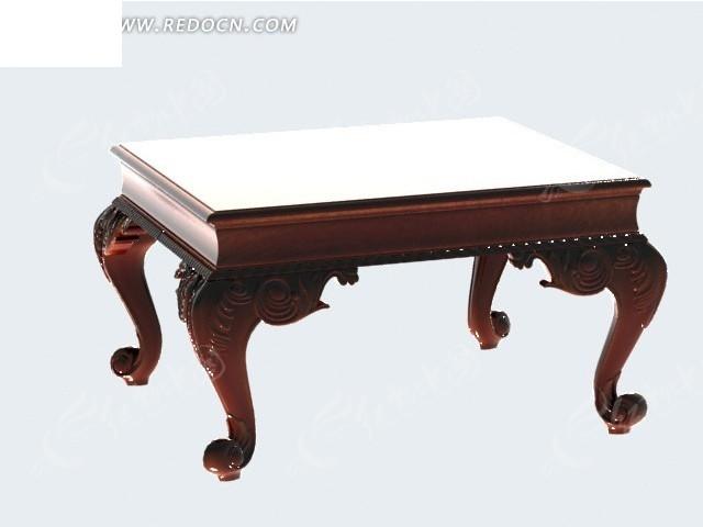 欧式实木方桌设计效果图_家具模型