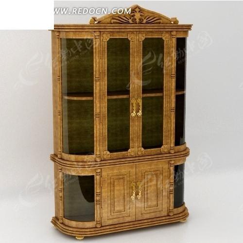 欧式上下式玻璃门木门结合倒角酒柜3dmax模型图片