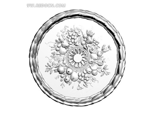圆形水果雕刻石膏灯盘3d模型图