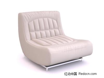 白色无扶手单人沙发模型