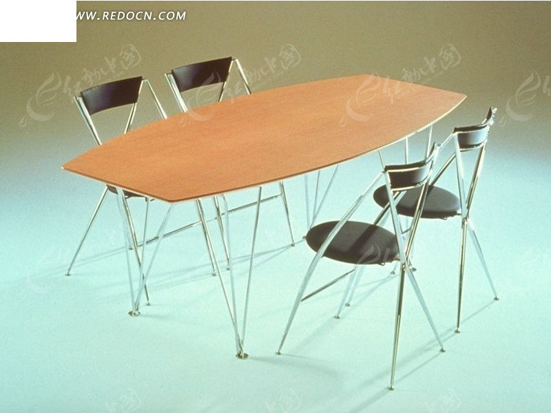 现代椭圆桌设计3d效果图_家具模型