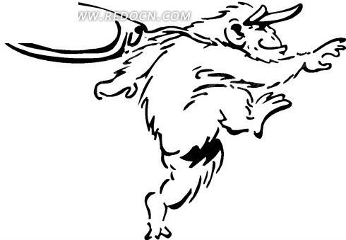 手绘线描画奔跑的的猴子素材