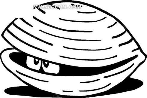 手绘露出一双小眼睛的蚌