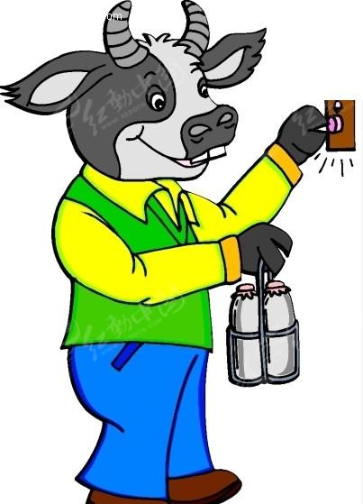 卡通画送牛奶的牛矢量图_陆地动物