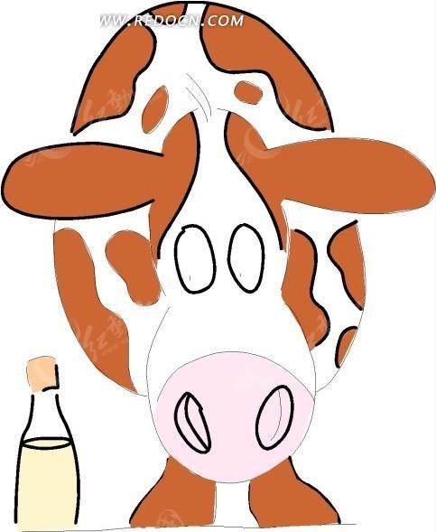 卡通画闭着眼睛的奶牛