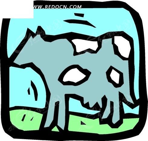 手绘简单的奶牛图案
