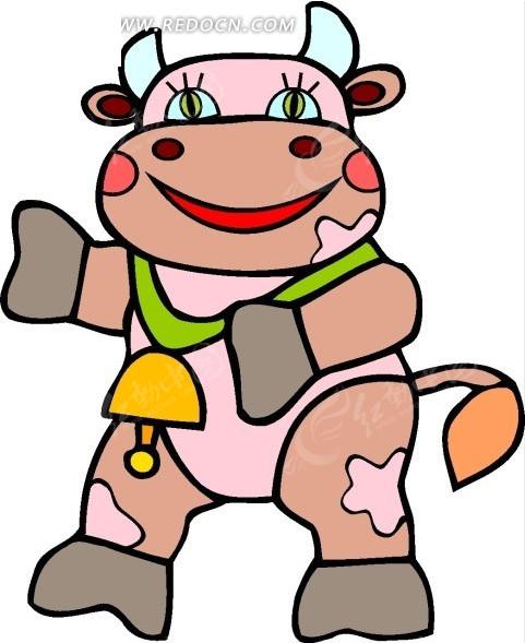 卡通画戴着铃铛的小母牛矢量图 陆地动物