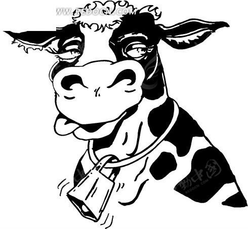 手绘黑色线描画戴着铃铛的牛