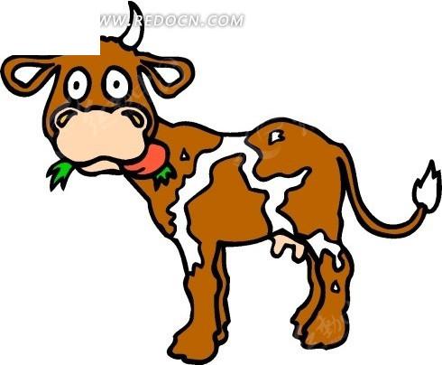 手绘吃草的牛