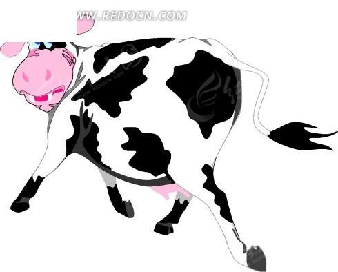 手绘插画回头的奶牛