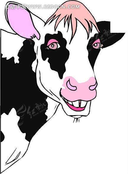 动物-动物漫画; 手绘插画奶牛的头像矢量素材; 动物漫画3295