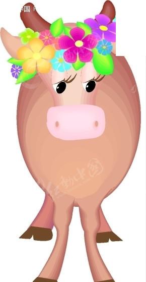 手绘头戴花环的母牛