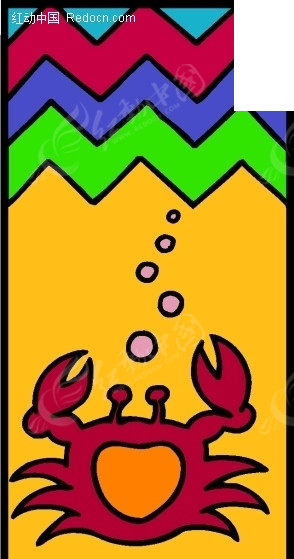 儿童手绘水下的螃蟹