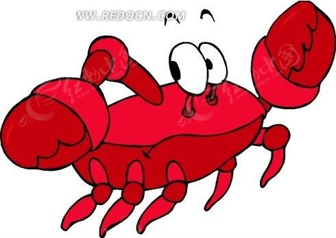 儿童手绘红色的大螃蟹