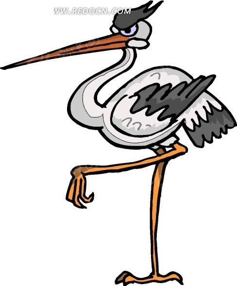 鸟 仙鹤 鹤 卡通动物 卡通画 插画 手绘 矢量素材 动物图片 卡通形象