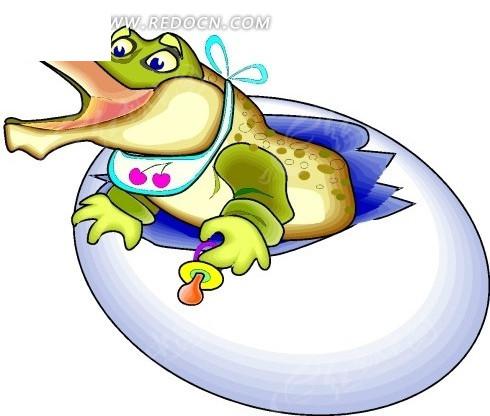 卡通画破蛋而出的鳄鱼矢量图其他免费下载_陆地动物