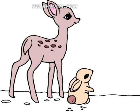 手绘小鹿和小兔子