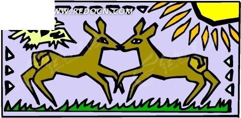 手绘两只靠在一起的小鹿