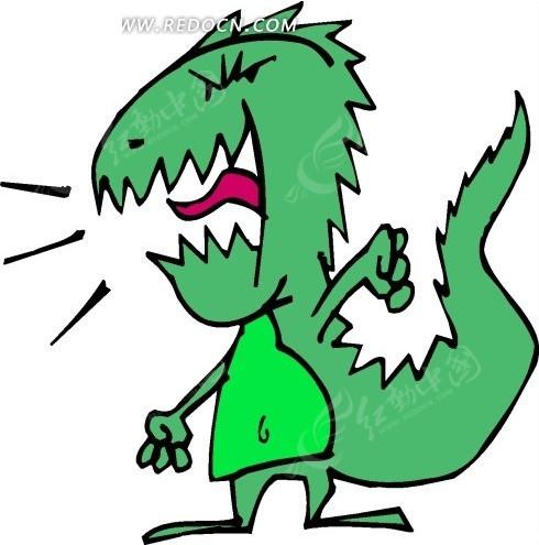 手绘一只绿色小怪兽