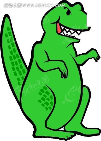 手绘一只绿色的肉食恐龙