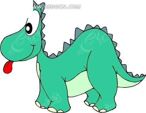 手绘吐出小舌头的恐龙矢量图_陆地动物