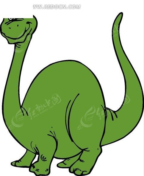 通画可爱的绿色长颈龙矢量图 陆地动物