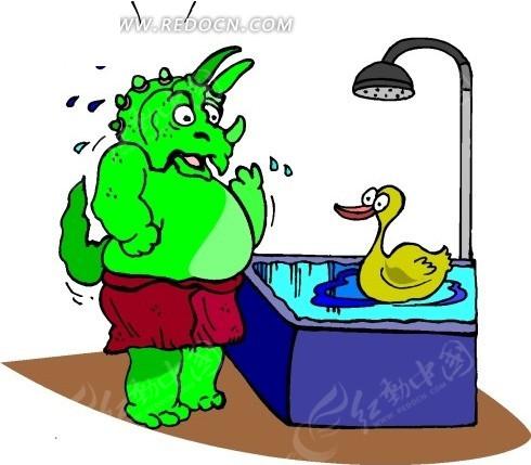 卡通画看着浴缸里的鸭子发呆的恐龙