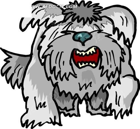 手绘一只长毛的卡通狗狗