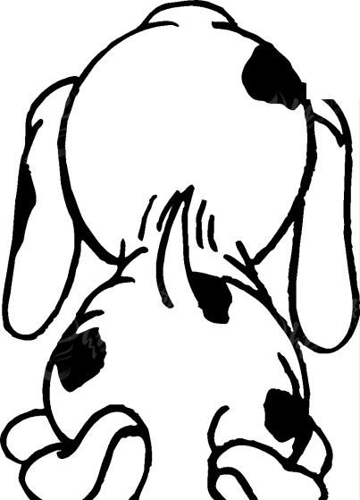 免费素材 矢量素材 生物世界 陆地动物 手绘斑点小狗的背影