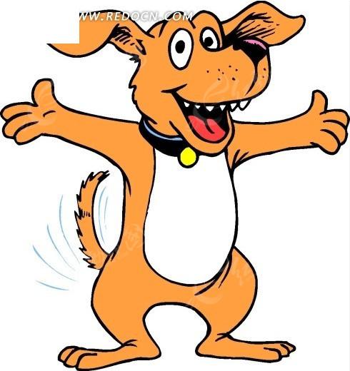 卡通画张开双手摇尾巴的小狗矢量图