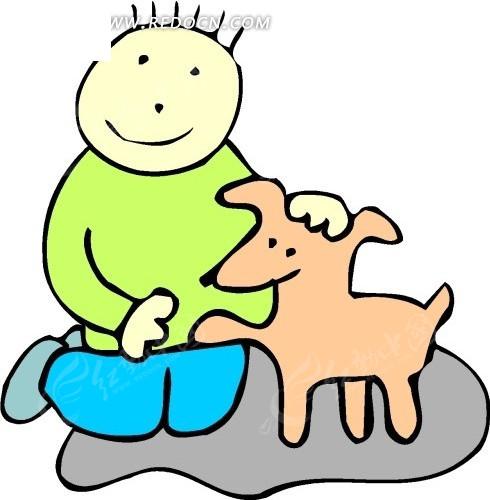 免费素材 矢量素材 生物世界 陆地动物 手绘被男孩抚摸的小狗