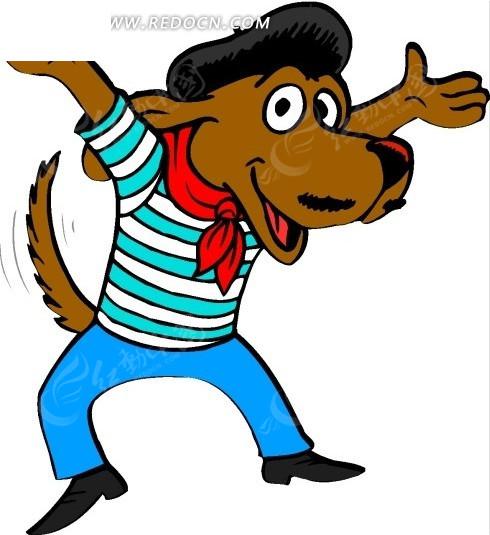 卡通画张开双手戴着红领巾的小狗