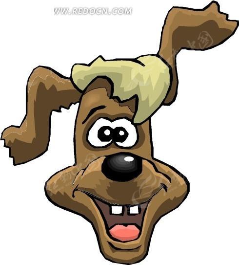 手绘素材翘起耳朵的小狗图片