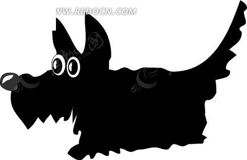 手绘一只可爱的黑色狗狗