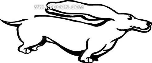 手绘线描的腊肠狗