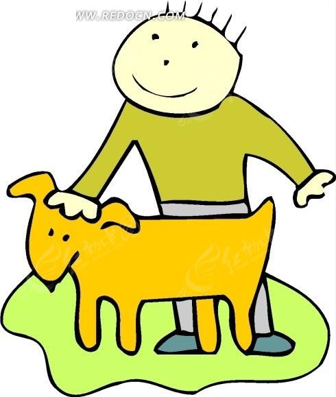儿童画被男孩摸头的小狗