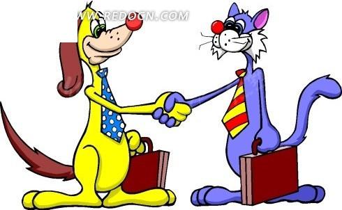 卡通画提着箱子握手的小猫和小狗矢量图