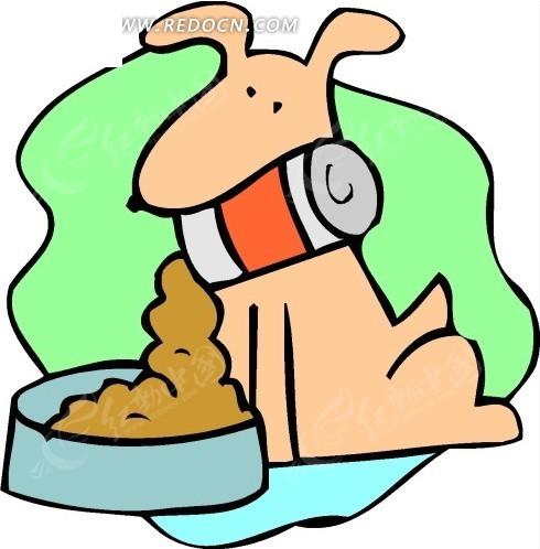 儿童画往盘子里倒狗食的小狗