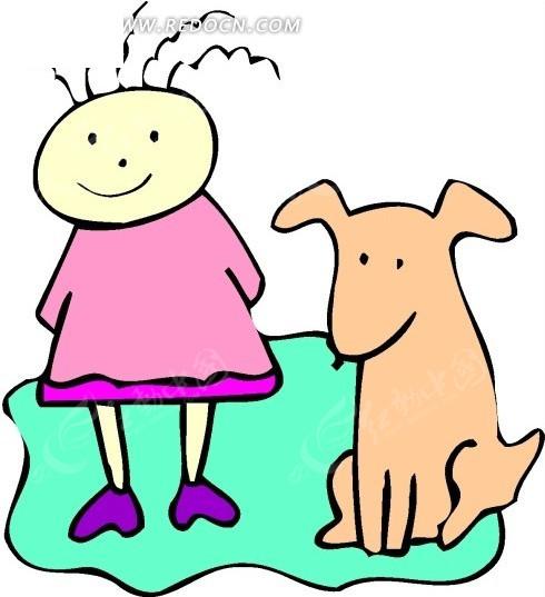手绘蹲在女孩边上的小狗