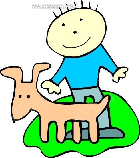 手绘男孩与小狗