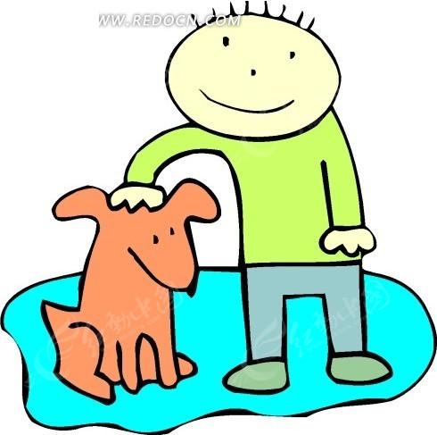 手绘摸抚摸小狗的男孩