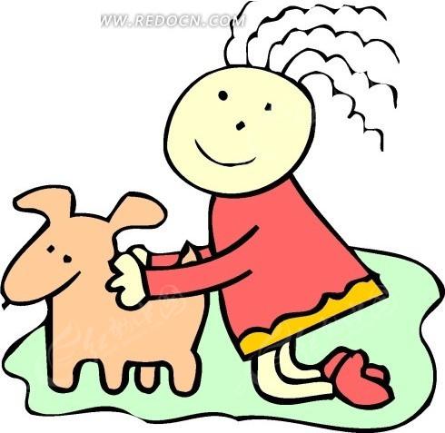 手绘被女孩抱着的小狗