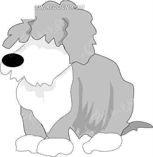 手绘灰色的可爱长毛小狗